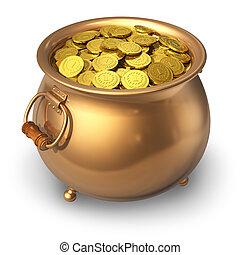vaso, monete, oro