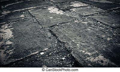 vecchio, alterato, parete, macchiato, struttura, scuro, 3, fondo, mattone