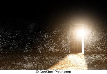vecchio, apertura, parete, luce, cemento, in., legno, porte, venuta