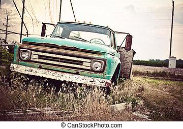 vecchio, automobile, tracciato, ci, arrugginito, storico, 66, lungo