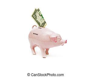 vecchio, $, banconote, 2, piggy, fondo, bianco, banca