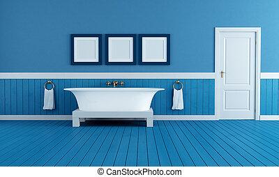 vecchio, blu, stile, bagno