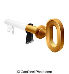 vecchio, buco serratura, chiave