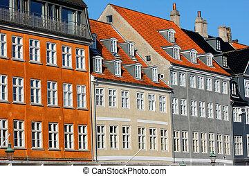 vecchio, classico, nyhavn, danimarca, architettura, copenaghen