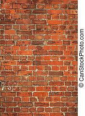vecchio, colorito, parete, britannico, fondo., mattone, rosso