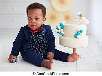 vecchio, compleanno, bambino, carino, anno, ragazzo, torta