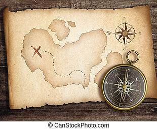 vecchio, concept., tesoro, map., avventura, bussola, tavola