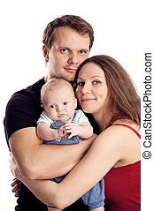 vecchio, coppia, giovane, two-month, figlio, caucasico