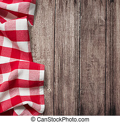 vecchio, copyspace, tavola legno, tovaglia, picnic, rosso