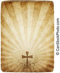 vecchio, croce, pergamena