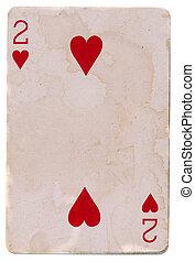 vecchio, due, isolato, scheda, grunge, cuori, gioco, rosso