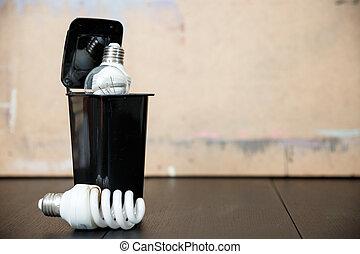 vecchio, energia, risparmio, fluorescente, lamps., bruciato