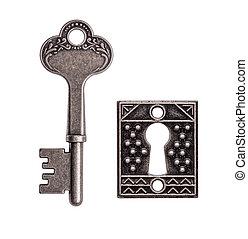 vecchio, fondo, isolato, buco serratura, chiave, bianco