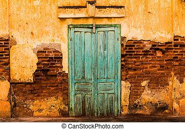 vecchio, legno, cemento, parete, porta verde