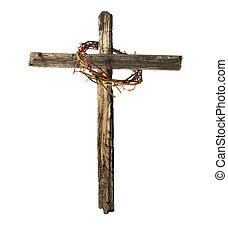 vecchio, legno, corona, croce, sanguinante, spine