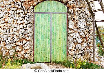 vecchio, legno, porta verde