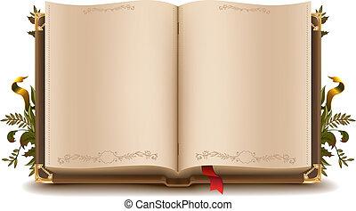 vecchio, libro, aperto