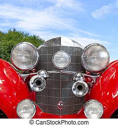 vecchio, macchina classica, vendemmia, fronte, rosso, vista