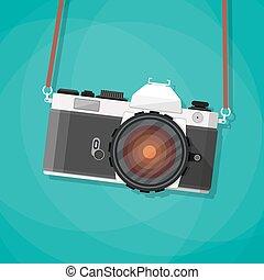 vecchio, macchina fotografica vendemmia, foto, strap.