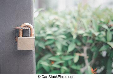 vecchio, maestro, chiuso chiave, ferro, chiave, gate.