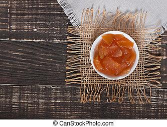 vecchio, mela, cibo, dolce, -, fondo., marmellata, delizioso, legno