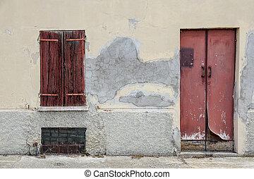 vecchio, parete, casa, legno, finestra, porta