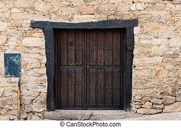 vecchio, parete, casa legno, porta, pietra, tradizionale