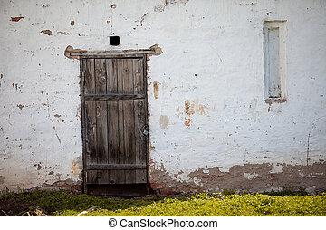 vecchio, parete, casa, porta legno, bianco