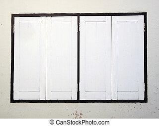 vecchio, parete legno, porta, bianco, tailandese