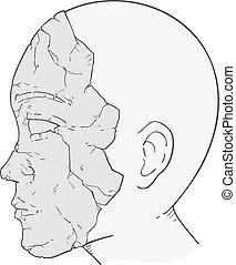 vecchio, pelle, disegnare, testa, rotto