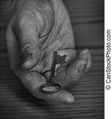 vecchio, presa a terra, dare, lontano, mano, chiave