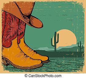 vecchio, scarpe, cowboy, carta, occidentale, fondo, disertare paesaggio