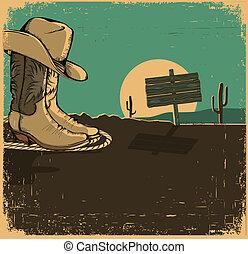 vecchio, scarpe, cowboy, struttura, illustrazione, deserto occidentale, paesaggio
