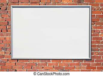 vecchio, segno, tabellone, mattone, wall., rosso