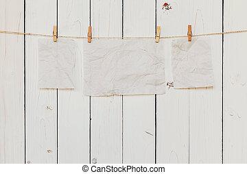 vecchio, spazio, appendere, text., carta, legno, fondo, vuoto, bianco