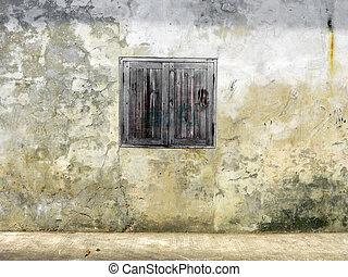 vecchio, tailandese, parete legno, porta, bianco