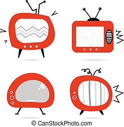 vecchio, tv, isolato, collezione, retro, bianco