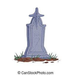 vecchio, vettore, pietra tombale, bianco, colorato, dritto, style., pietra, fondo, tomb., religioso, cross., vendemmia, hand-drawn, isolato, fesso, lapide, pietra tombale, realistico, illustrazione, antico
