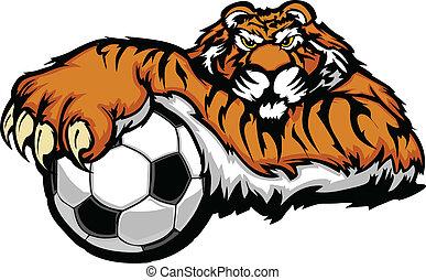 vecto, tiger, palla calcio, mascotte
