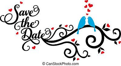 vecto, uccelli, risparmiare, data, matrimonio