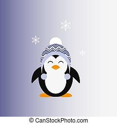 vector., cap., lavorato maglia, pinguino, icon., flat.