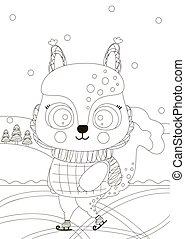 vector., contorno, carino, poco, a4., forest., cartone animato, natale, pattinaggio, illustrazione, ghiaccio, bianco, page., rettangolare, scoiattolo, kids., coloritura, nero