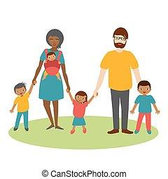 vector., corsa, tre, famiglia, cartone animato, children., ilustration, mescolato