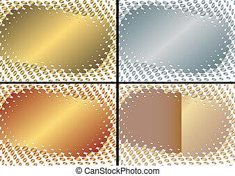 (vector), dorato, cornice, collezione, argenteo