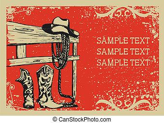 .vector, immagine, fondo, elementi, vita, grunge, cowboy's, testo, grafico