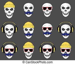 vector., occhiali da sole, set, crani, cappelli, headphones., baffi