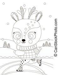 vector., rimbombante, children., character., rink, daino, pattinaggio, bianco, ghiaccio, carino, cervo, coloritura, contorno, forest., nero, pagina