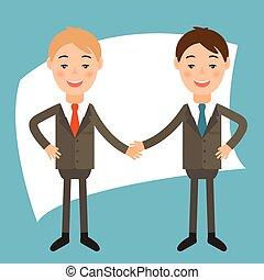 .vector, stile, businessmans, disegno, illustrazione, appartamento