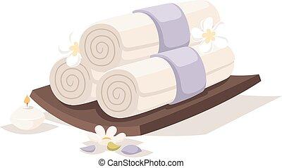vector., terme, asciugamani, aroma