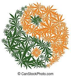 vector., yang, disegno, canapa, yin, simbolo., colorito, foglia marijuana